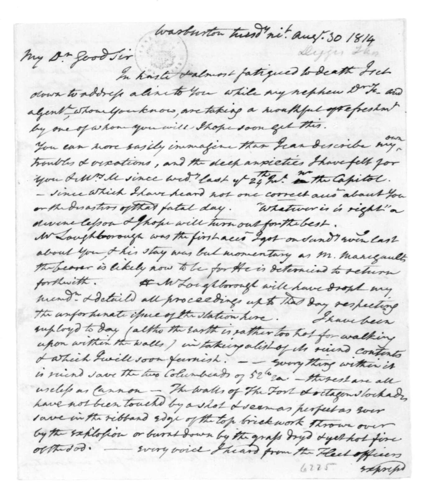 Thomas Digges to James Madison, August 30, 1814.