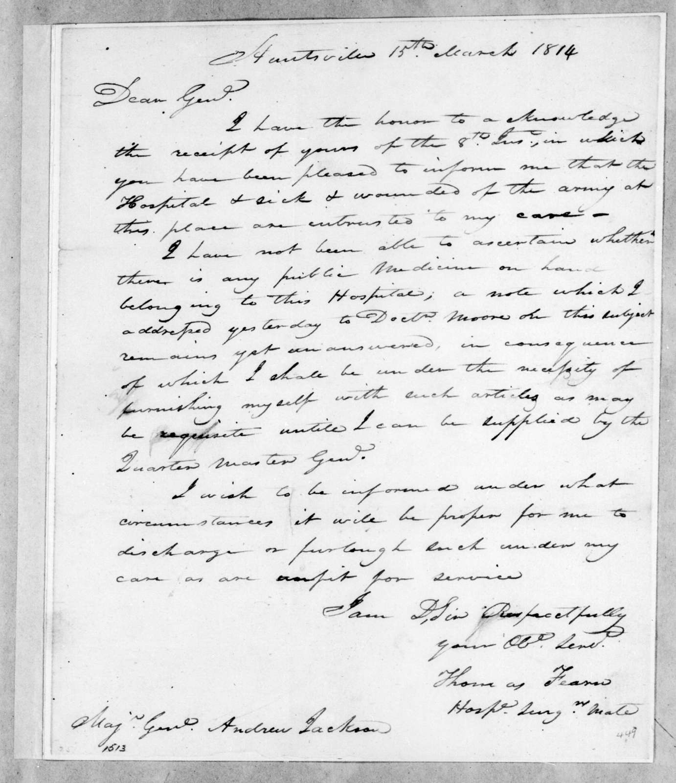 Thomas Fearn to Andrew Jackson, March 15, 1814