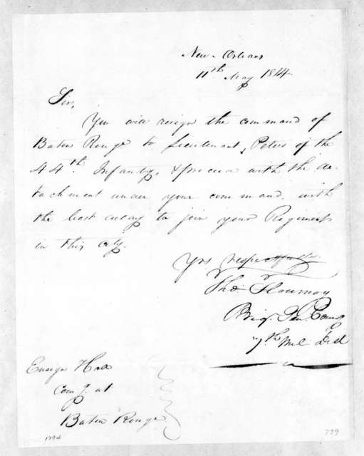 Thomas Flourney to [Ensign] Hall, May 11, 1814