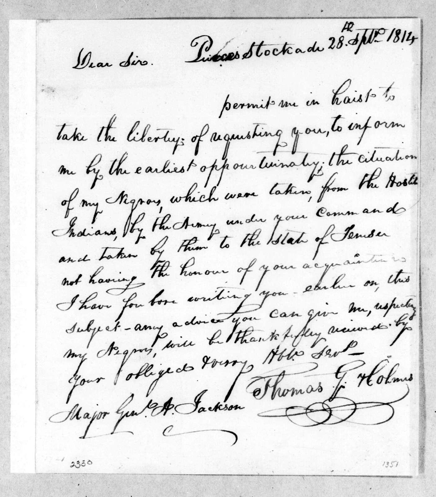 Thomas G. Holmes to Andrew Jackson, September 28, 1814