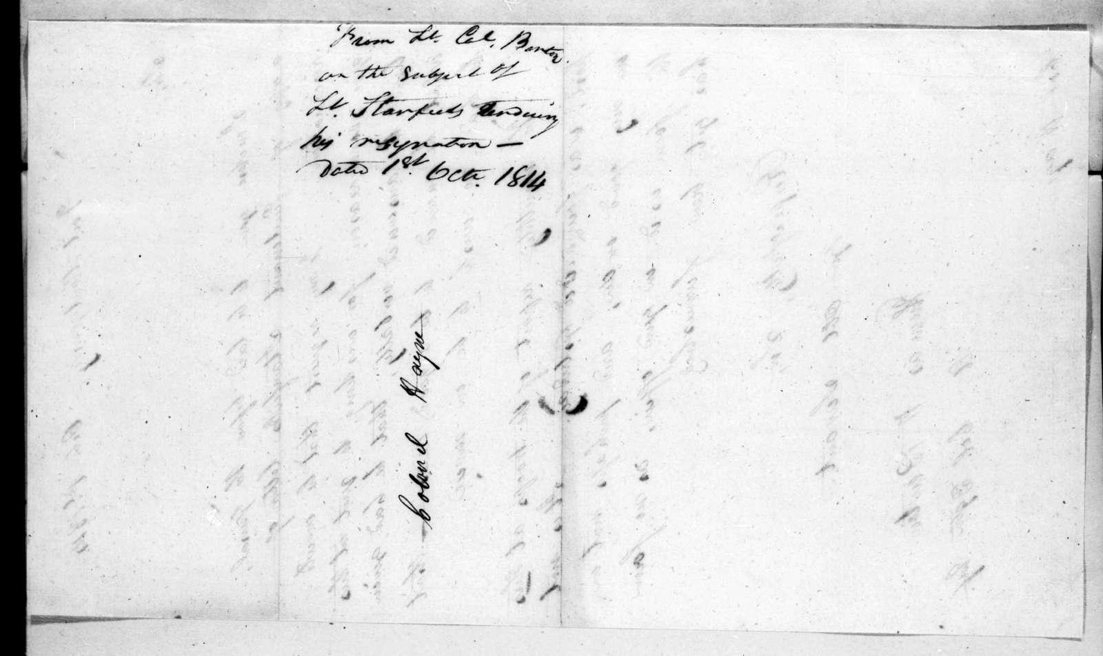 Thomas Hart Benton to Arthur Peronneau Hayne, October 1, 1814