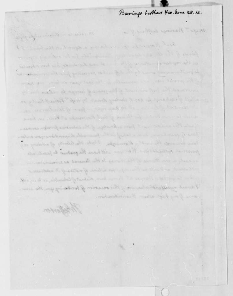 Thomas Jefferson to Baring Brothers & Company, June 28, 1814