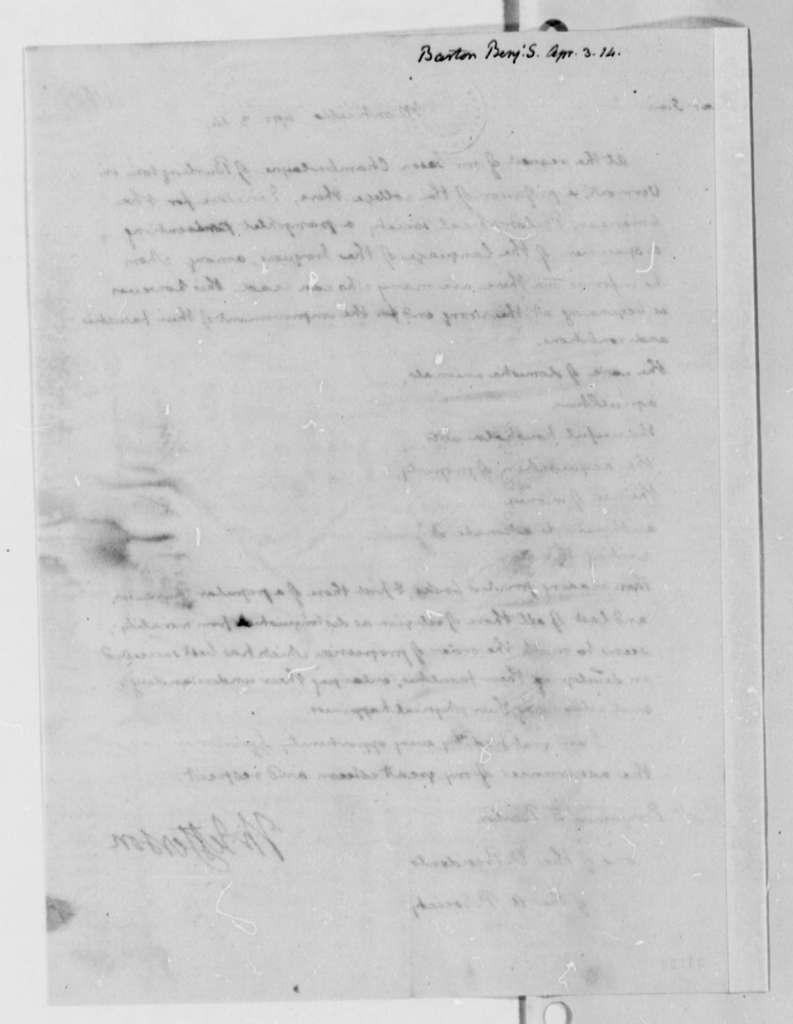 Thomas Jefferson to Benjamin Smith Barton, April 3, 1814