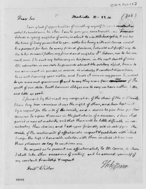 Thomas Jefferson to Caspar Wistar, November 23, 1814