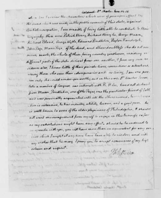 Thomas Jefferson to Charles Caldwell, June 12, 1814