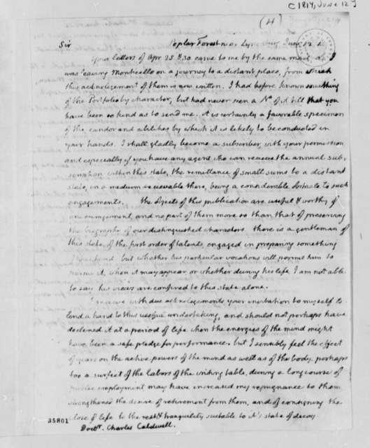 Thomas Jefferson to Charles Caldwell, June 12, 1814