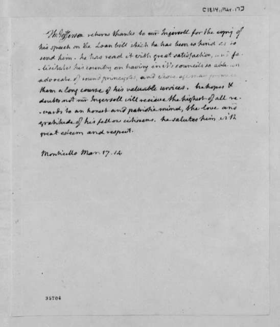 Thomas Jefferson to Charles J. Ingersoll, March 17, 1814