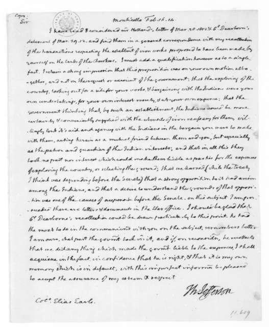 Thomas Jefferson to Elias Earle, February 16, 1814.