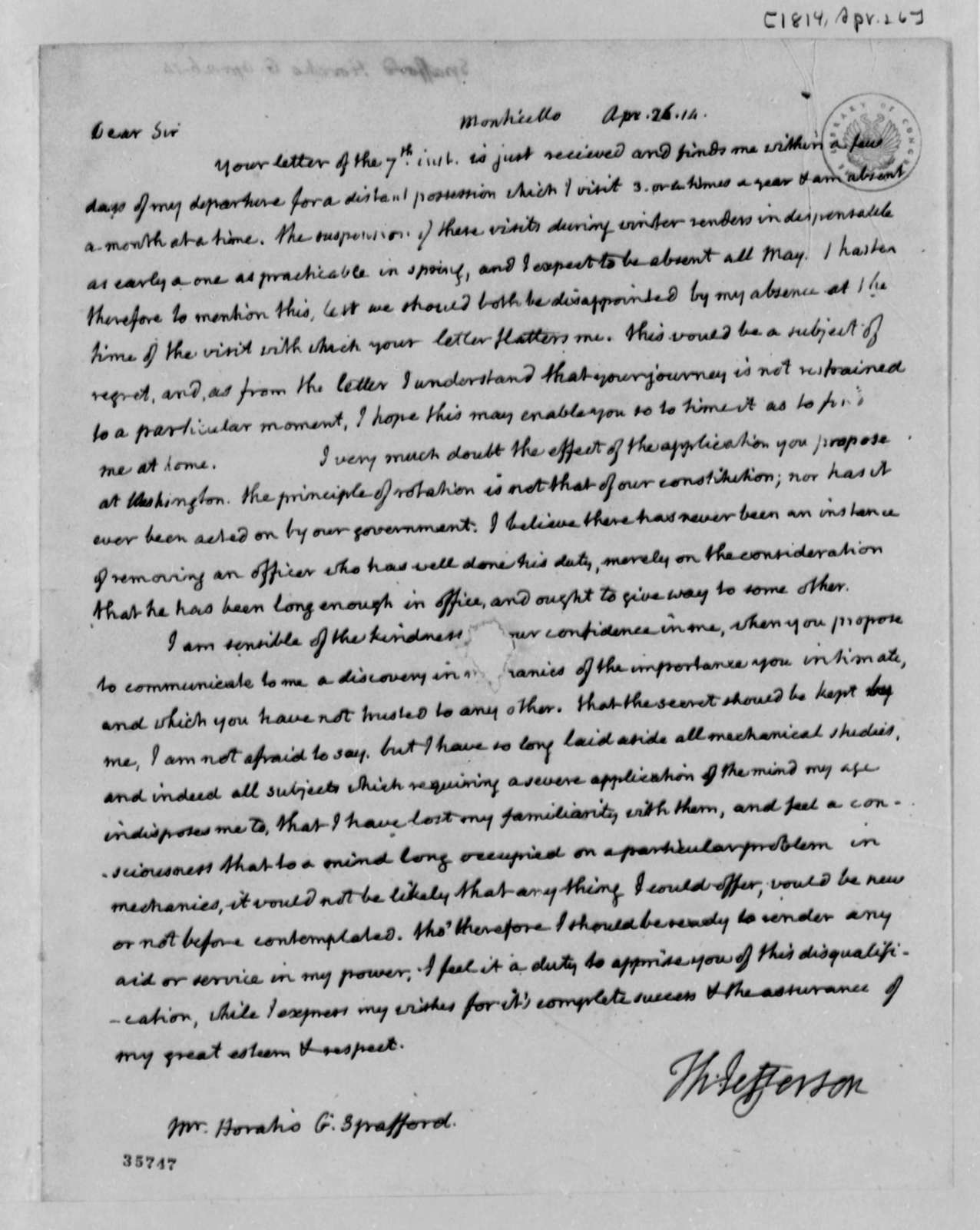 Thomas Jefferson to Horatio G. Spafford, April 26, 1814