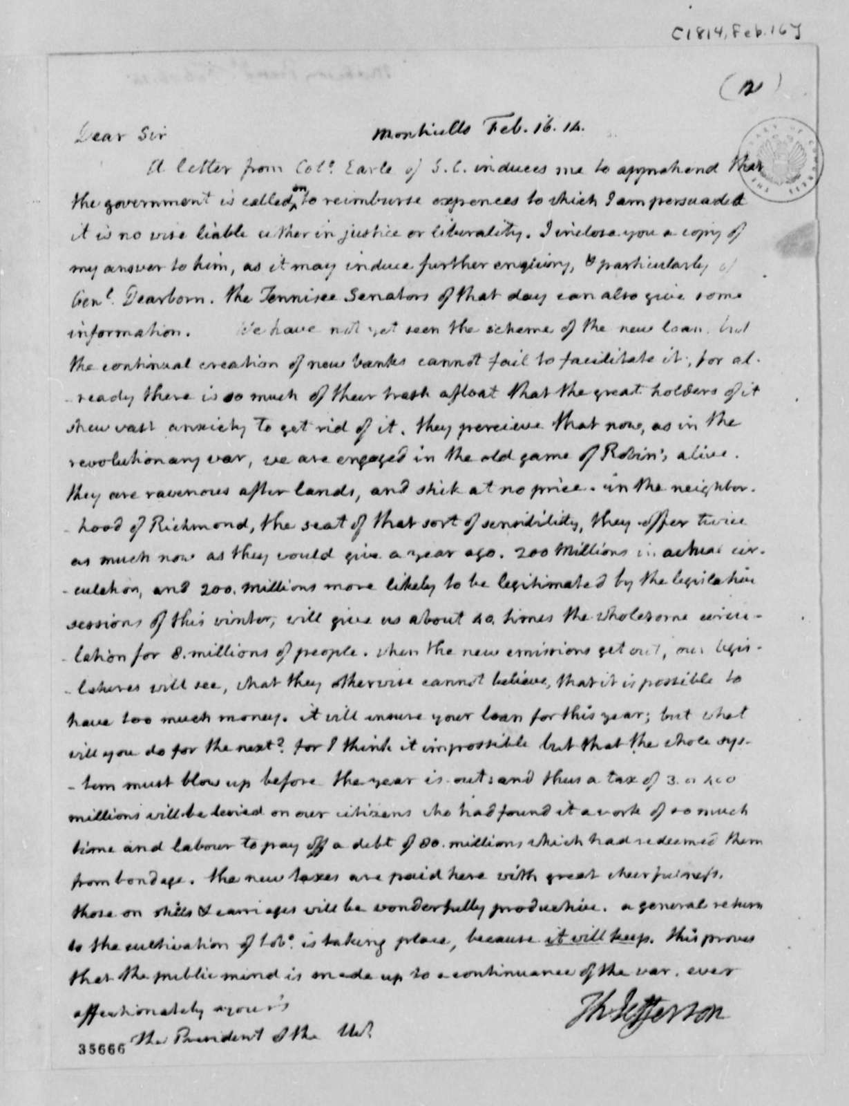 Thomas Jefferson to James Madison, February 16, 1814