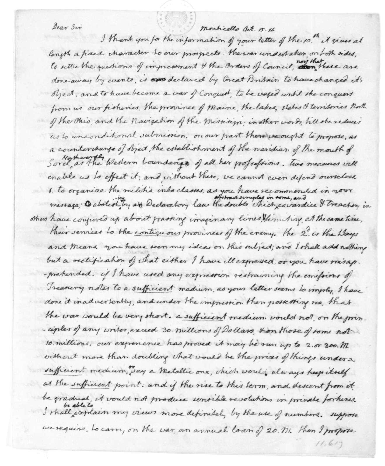 Thomas Jefferson to James Madison, October 15, 1814.