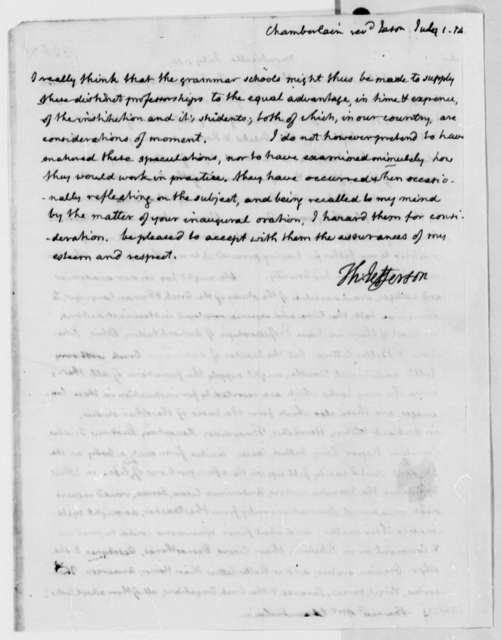 Thomas Jefferson to Jason Chamberlayne, July 1, 1814