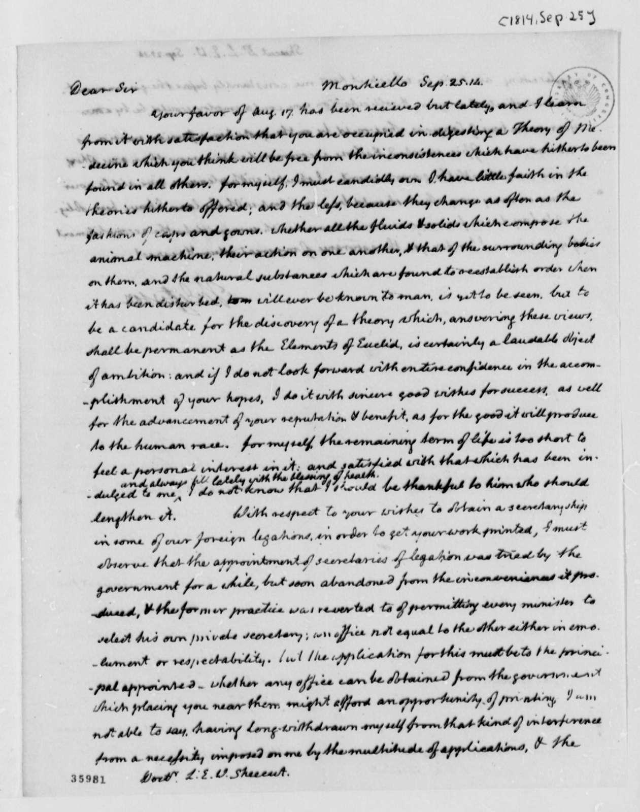Thomas Jefferson to John L. E. W. Shecut, September 25, 1814