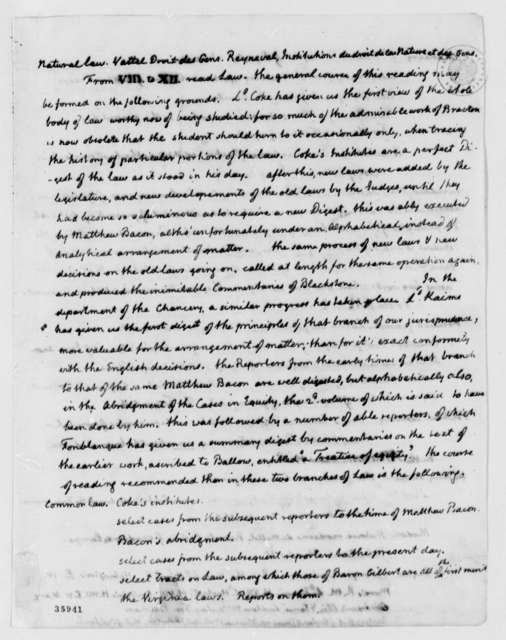 Thomas Jefferson to John Minor, August 30, 1814, with Copy of Reading List to Bernard Moore; Partial Transcription Available