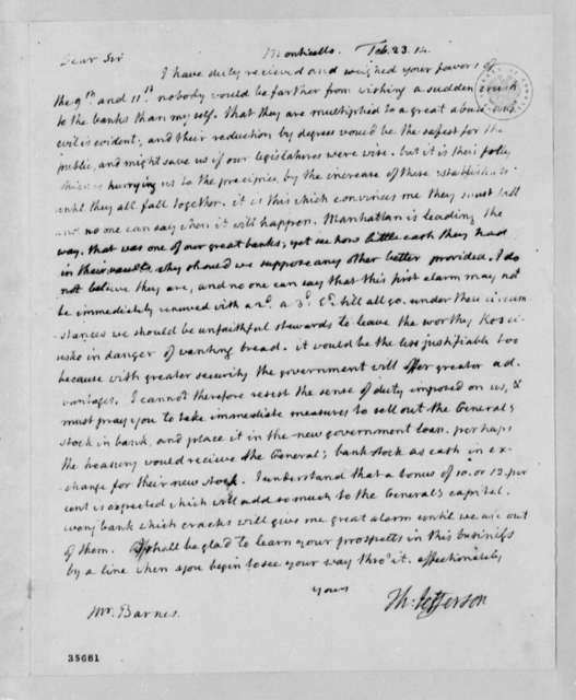 Thomas Jefferson to John S. Barnes, February 23, 1814