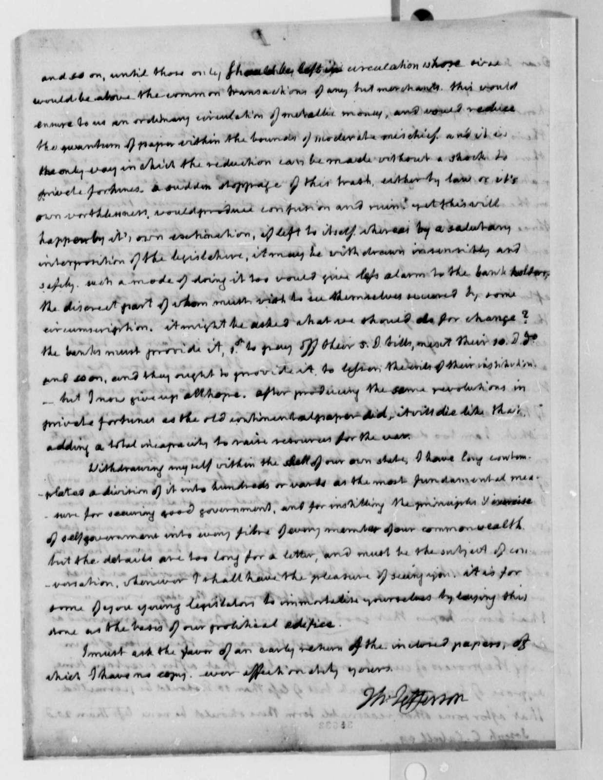 Thomas Jefferson to Joseph C. Cabell, January 17, 1814