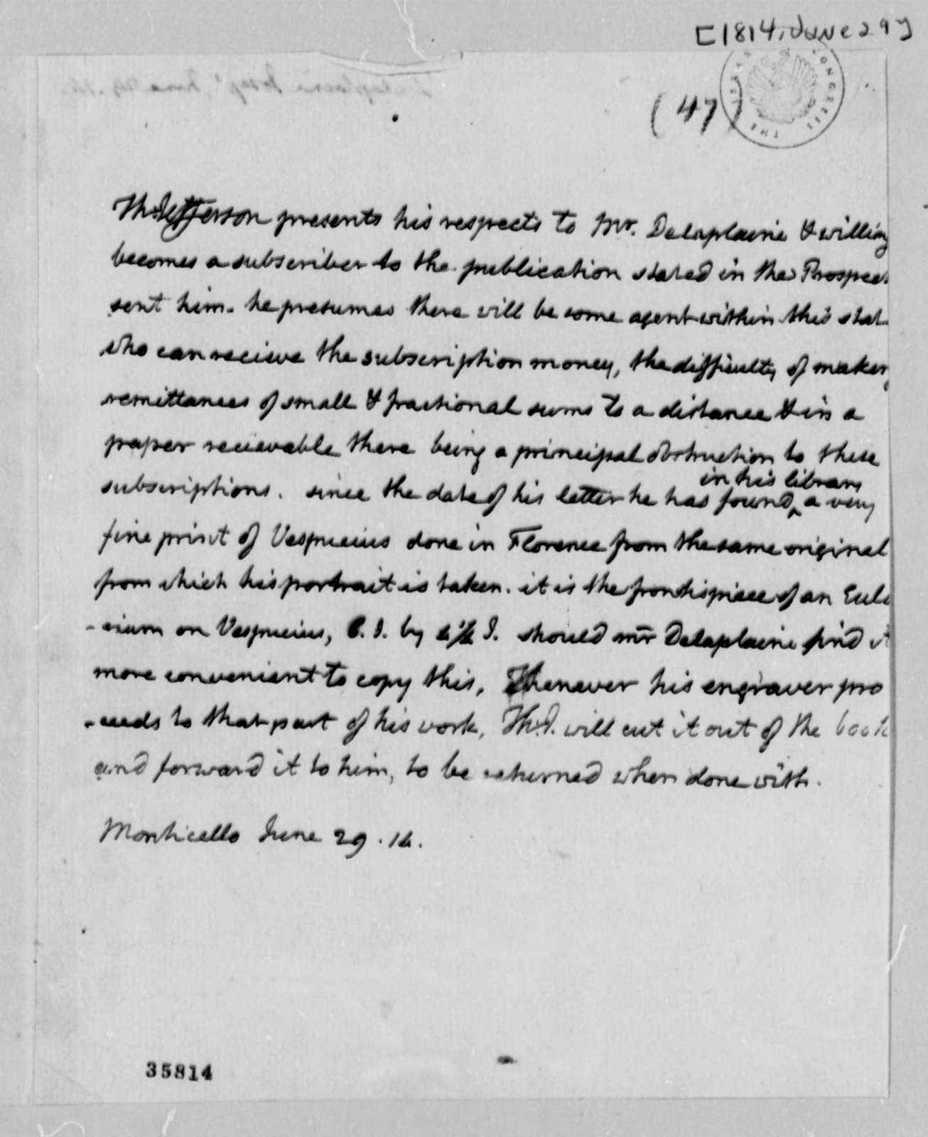 Thomas Jefferson to Joseph Delaplaine, June 29, 1814