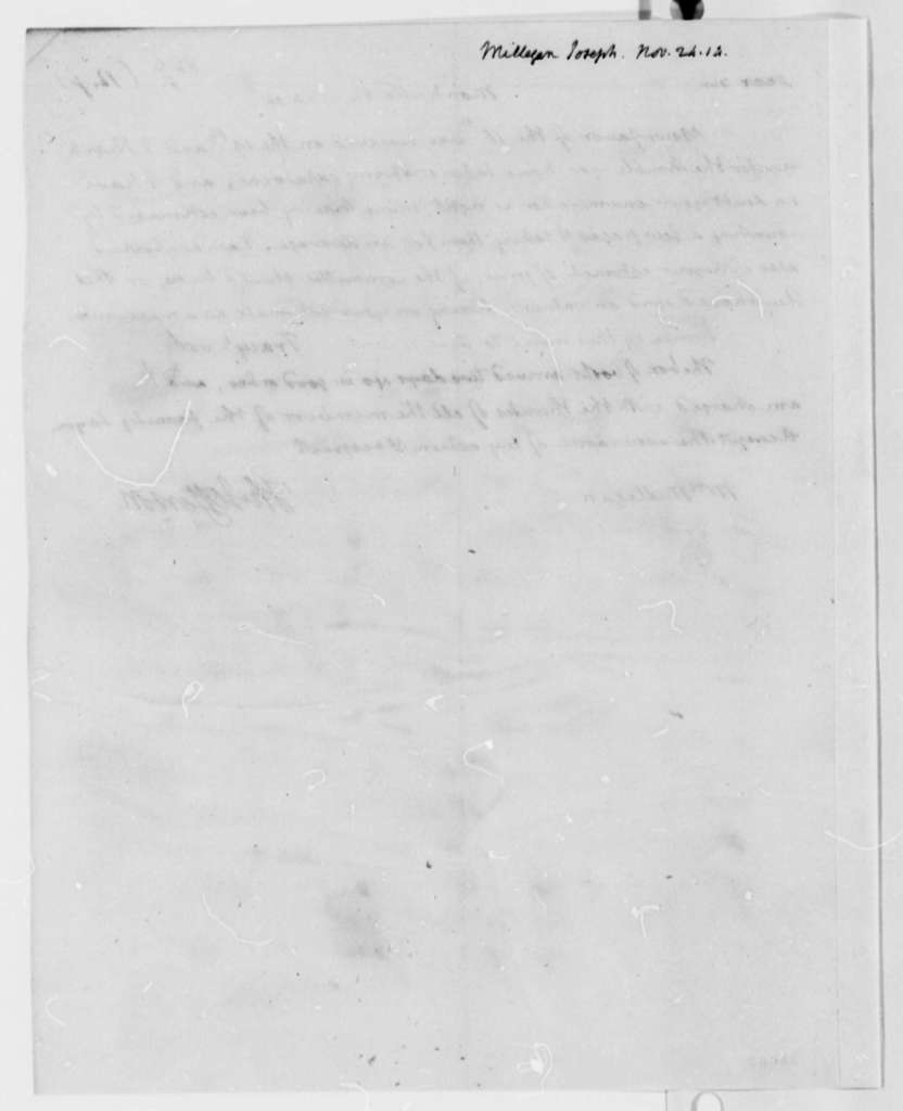 Thomas Jefferson to Joseph Milligan, November 24, 1814