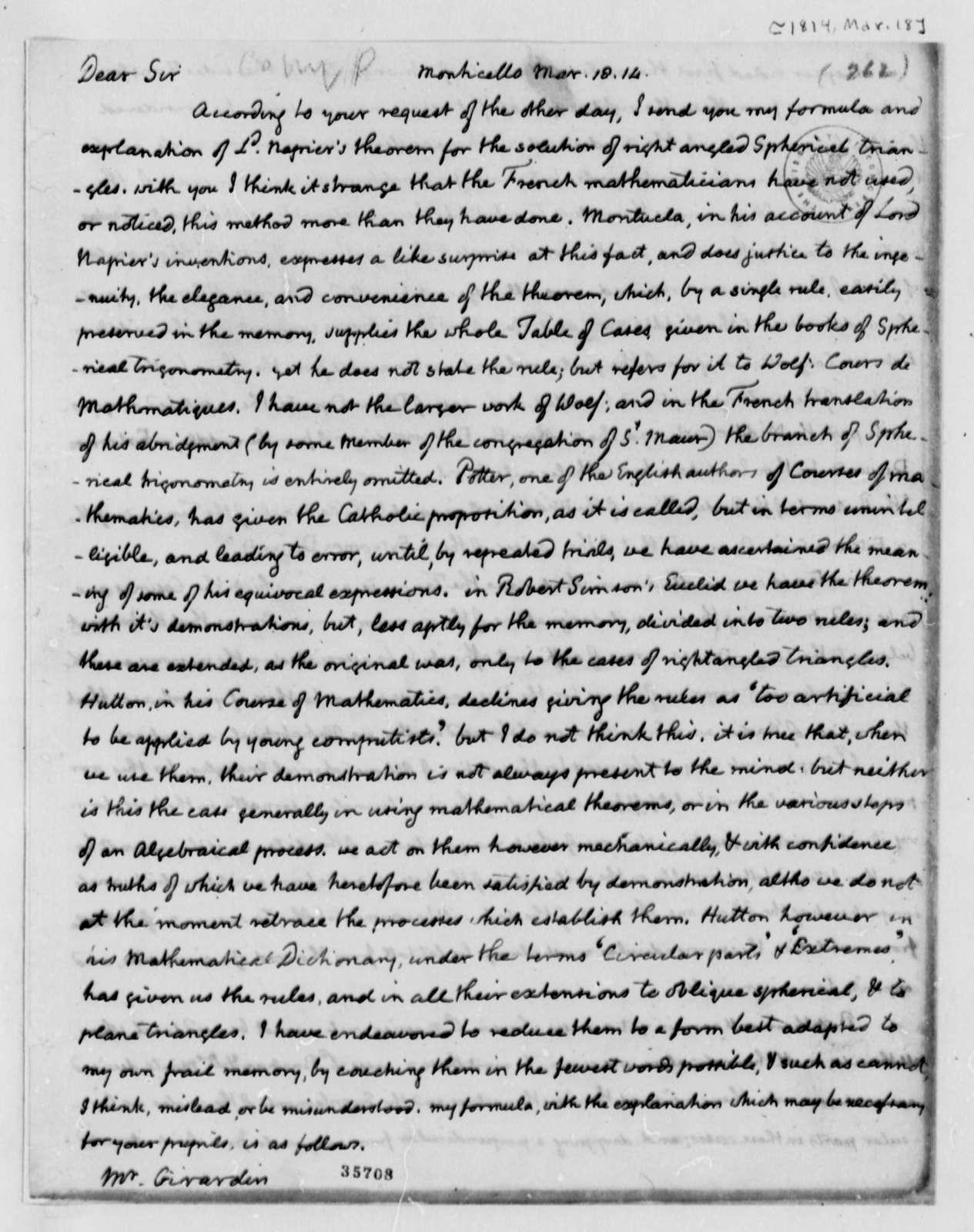 Thomas Jefferson to Louis H. Girardin, March 18, 1814