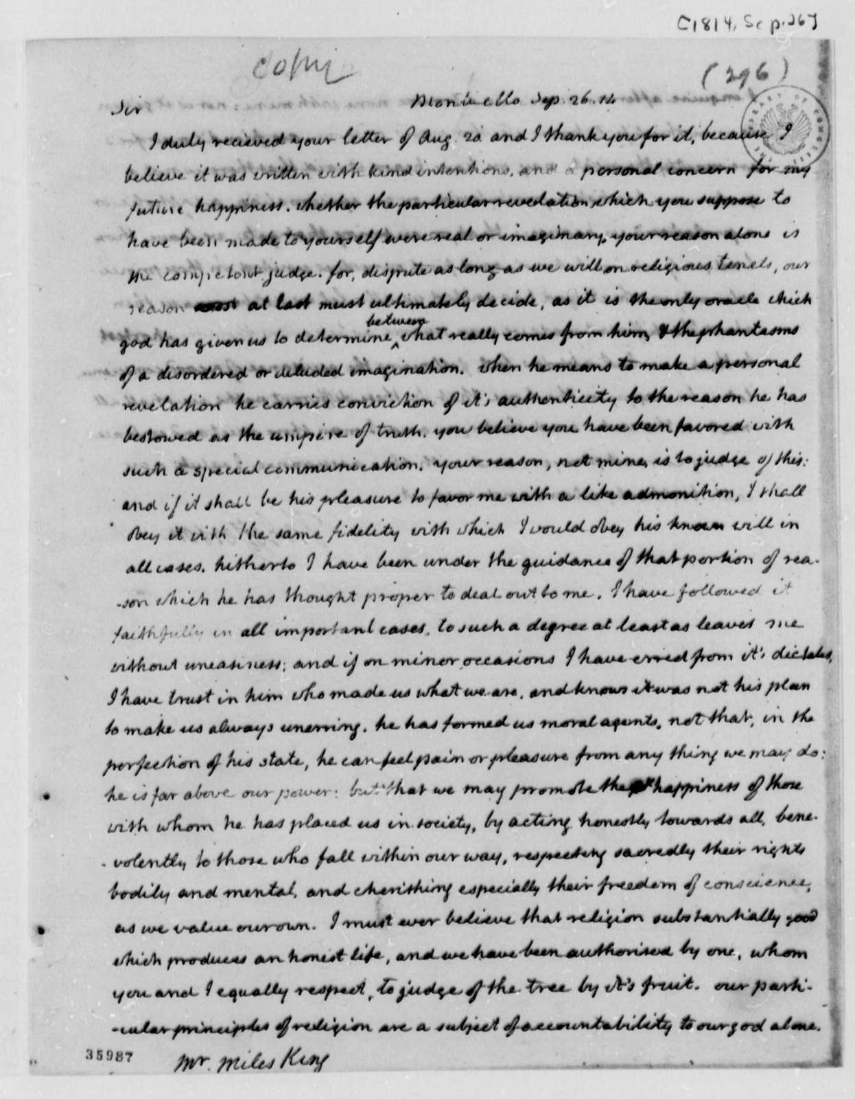 Thomas Jefferson to Miles King, September 26, 1814