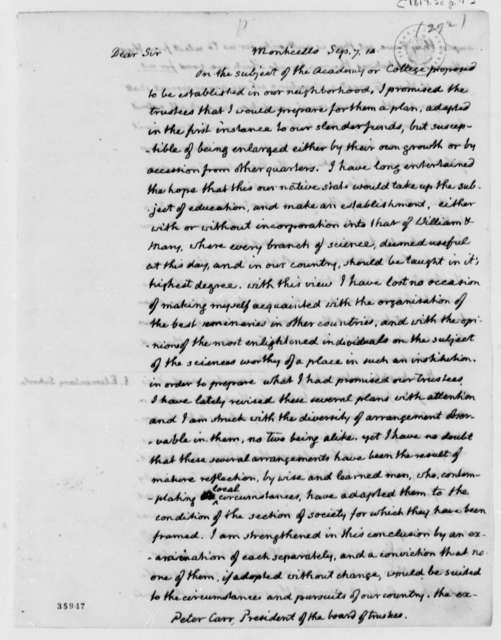 Thomas Jefferson to Peter Carr, September 7, 1814, with Act