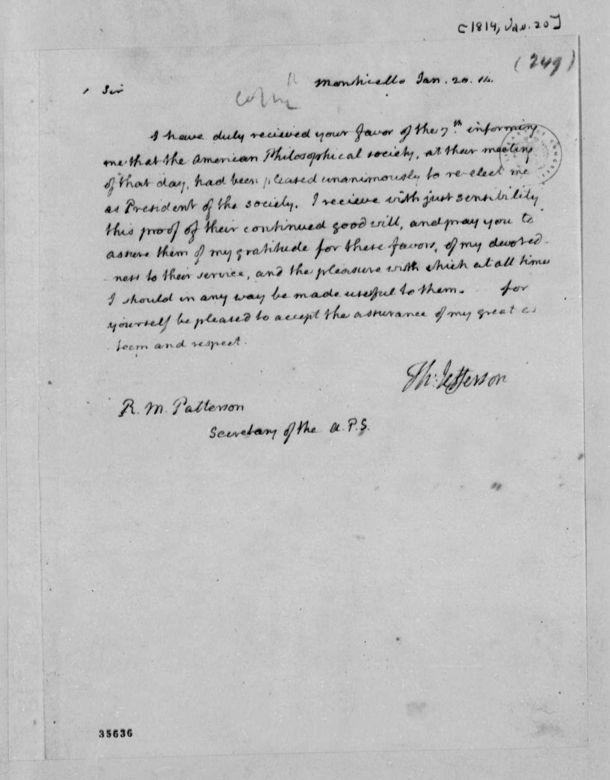 Thomas Jefferson to Robert Patterson, January 20, 1814