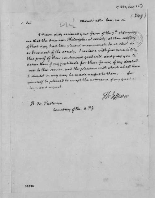 Thomas Jefferson to Robert Patterson, January 20, 1814