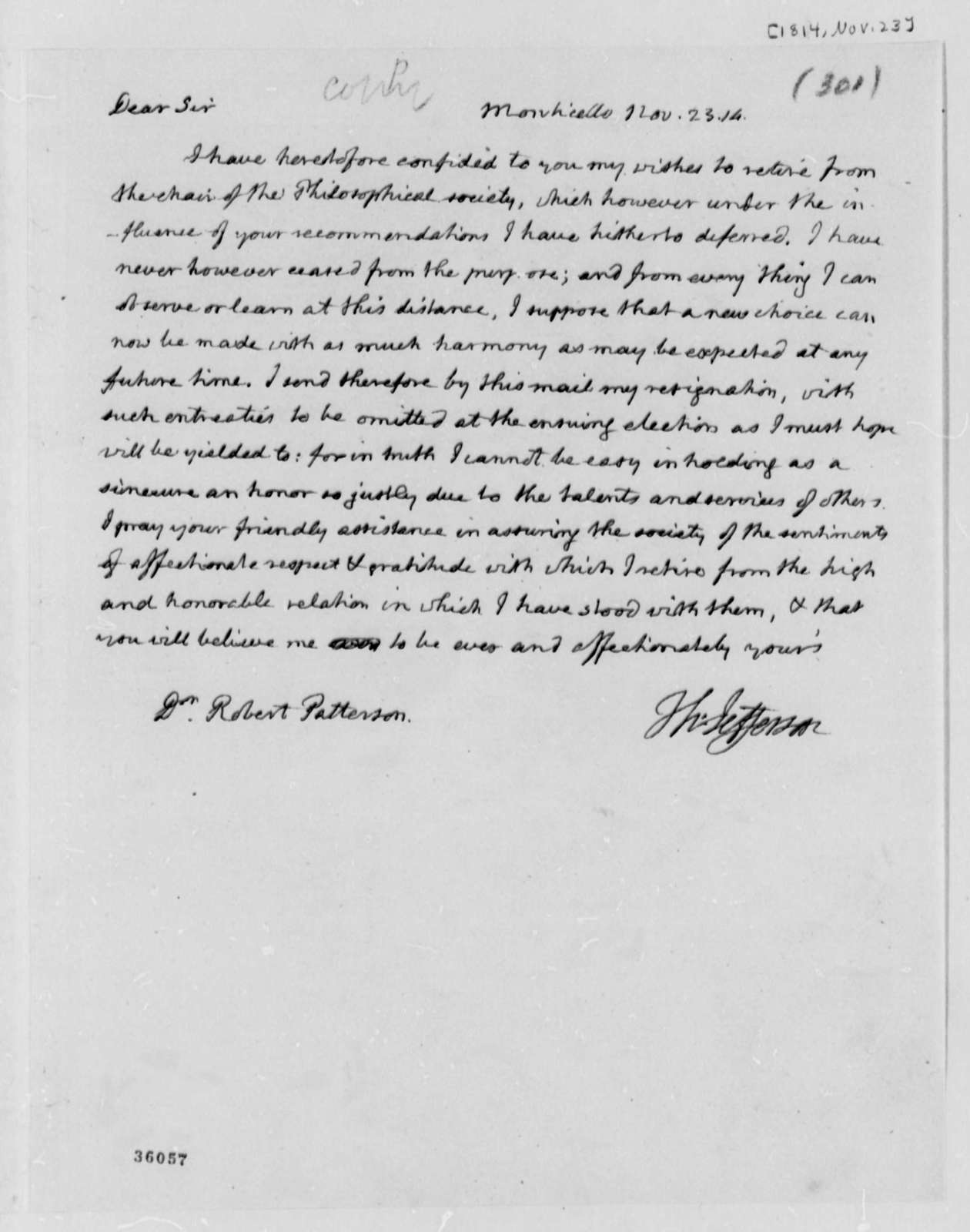 Thomas Jefferson to Robert Patterson, November 23, 1814