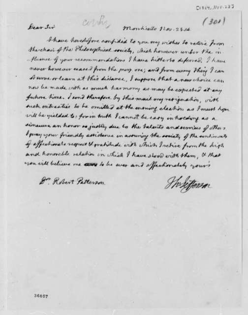 Thomas Jefferson to Robert Patterson, November 23, 1814