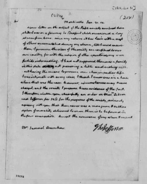 Thomas Jefferson to Samuel Greenhow, January 31, 1814