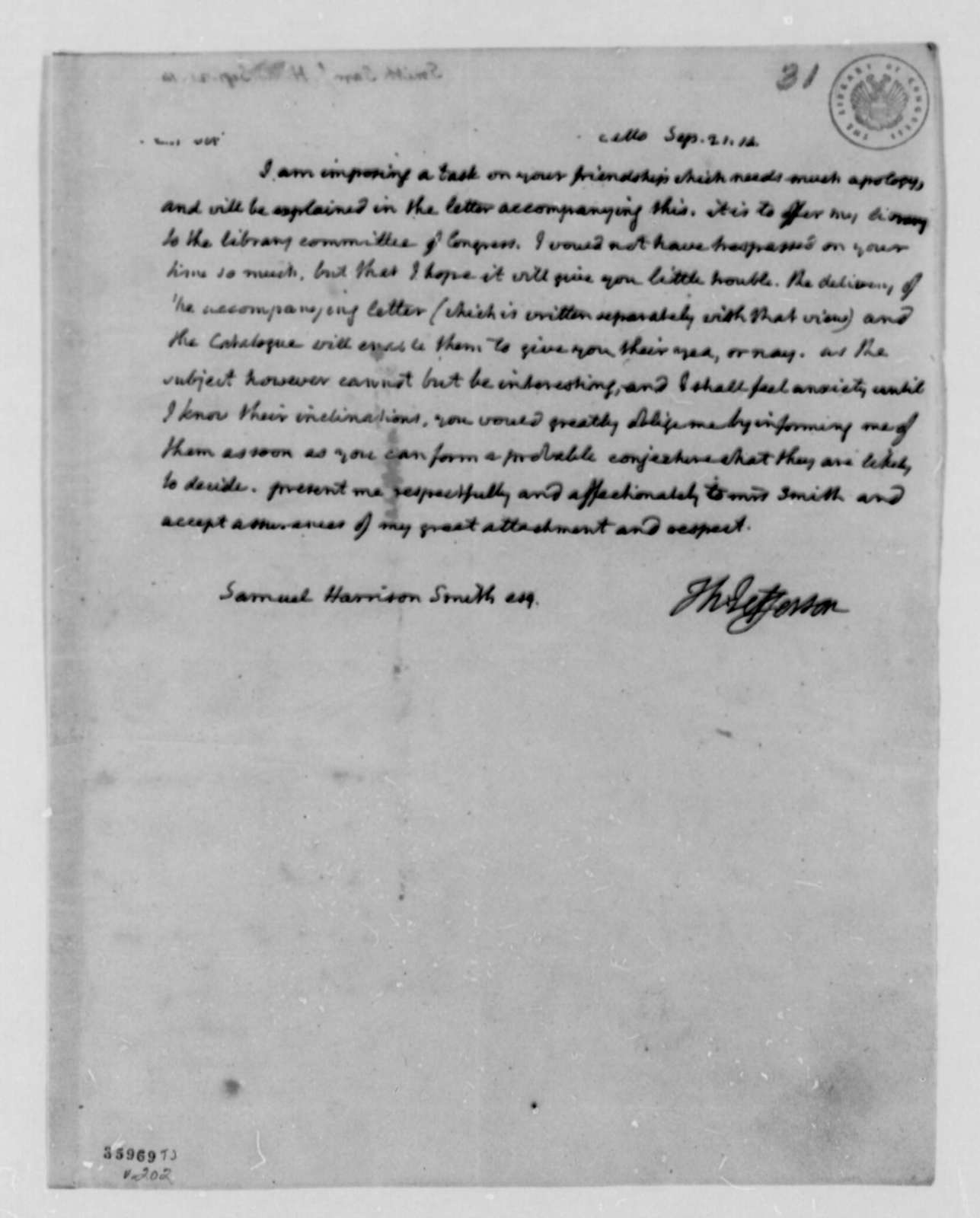 Thomas Jefferson to Samuel H. Smith, September 21, 1814