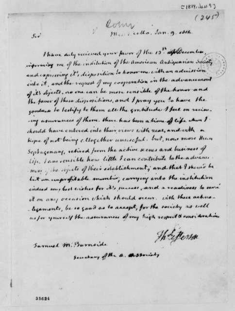 Thomas Jefferson to Samuel M. Burnside, January 9, 1814