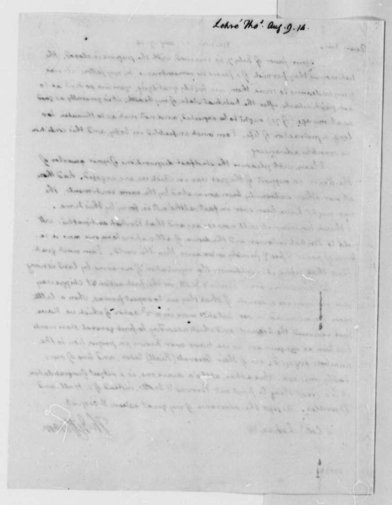 Thomas Jefferson to Thomas Lehre, August 9, 1814