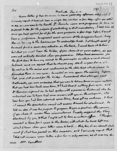 Thomas Jefferson to William Caruthers, December 3, 1814