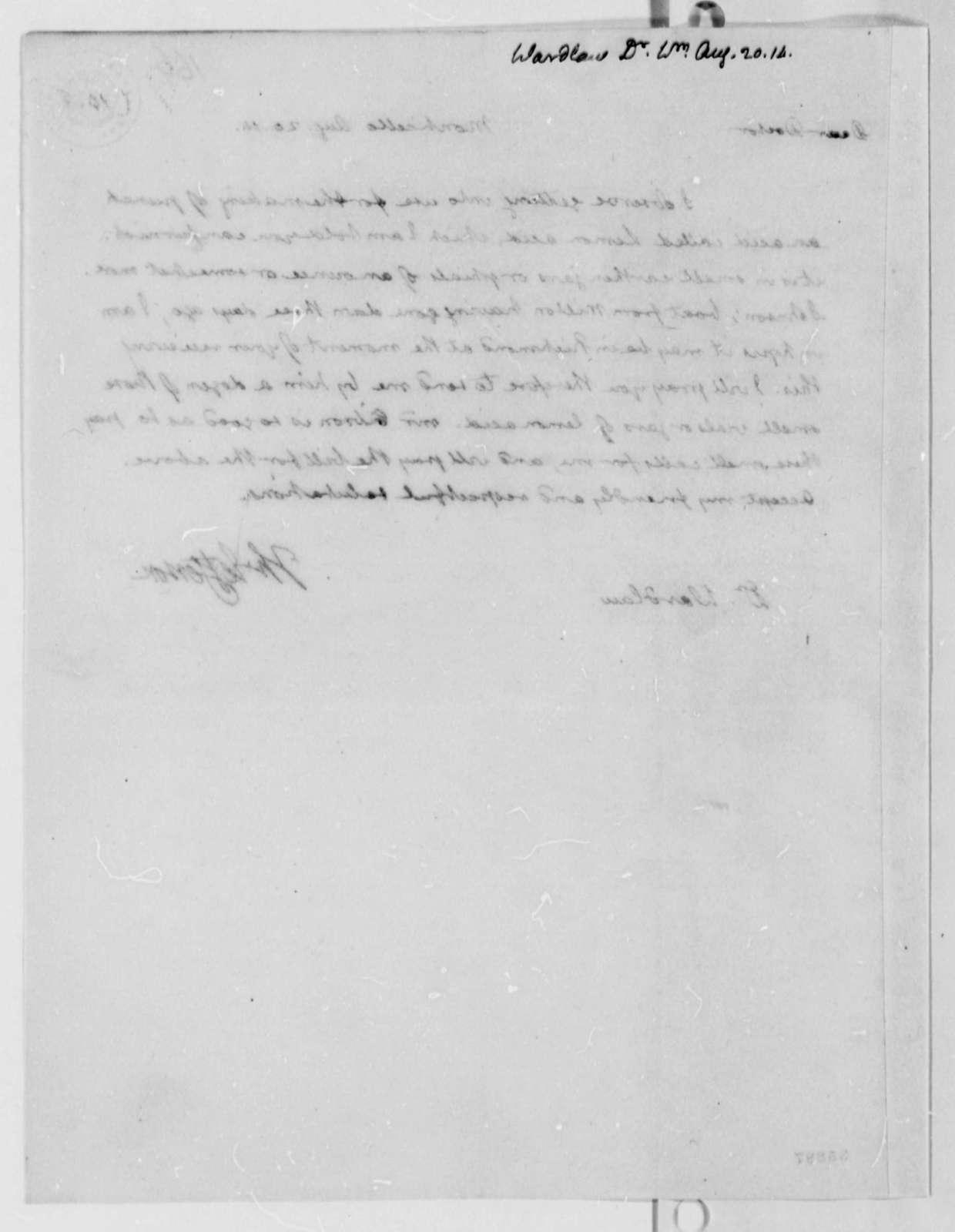 Thomas Jefferson to William Wardlaw, August 20, 1814