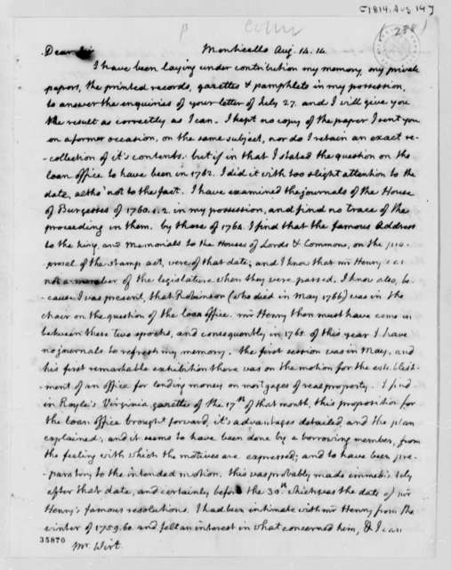Thomas Jefferson to William Wirt, August 14, 1814