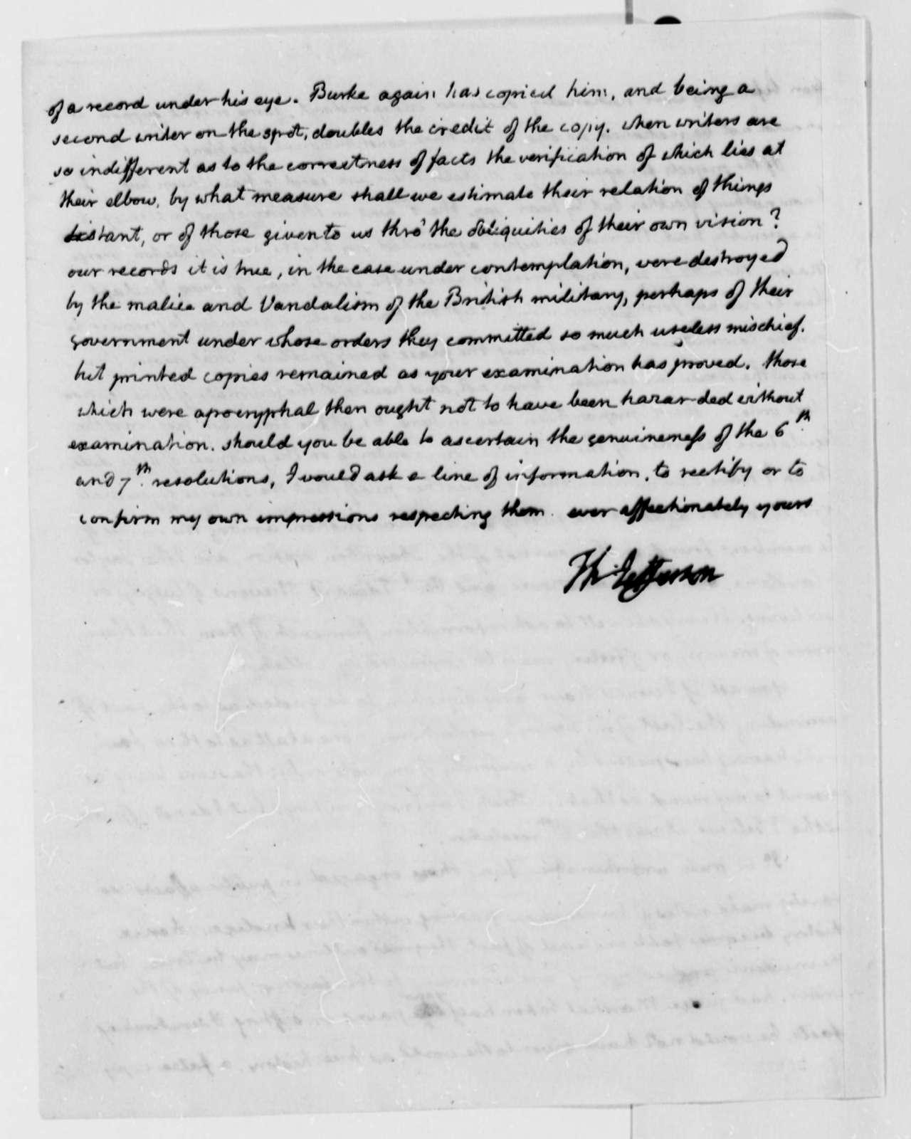 Thomas Jefferson to William Wirt, August 14, 1814