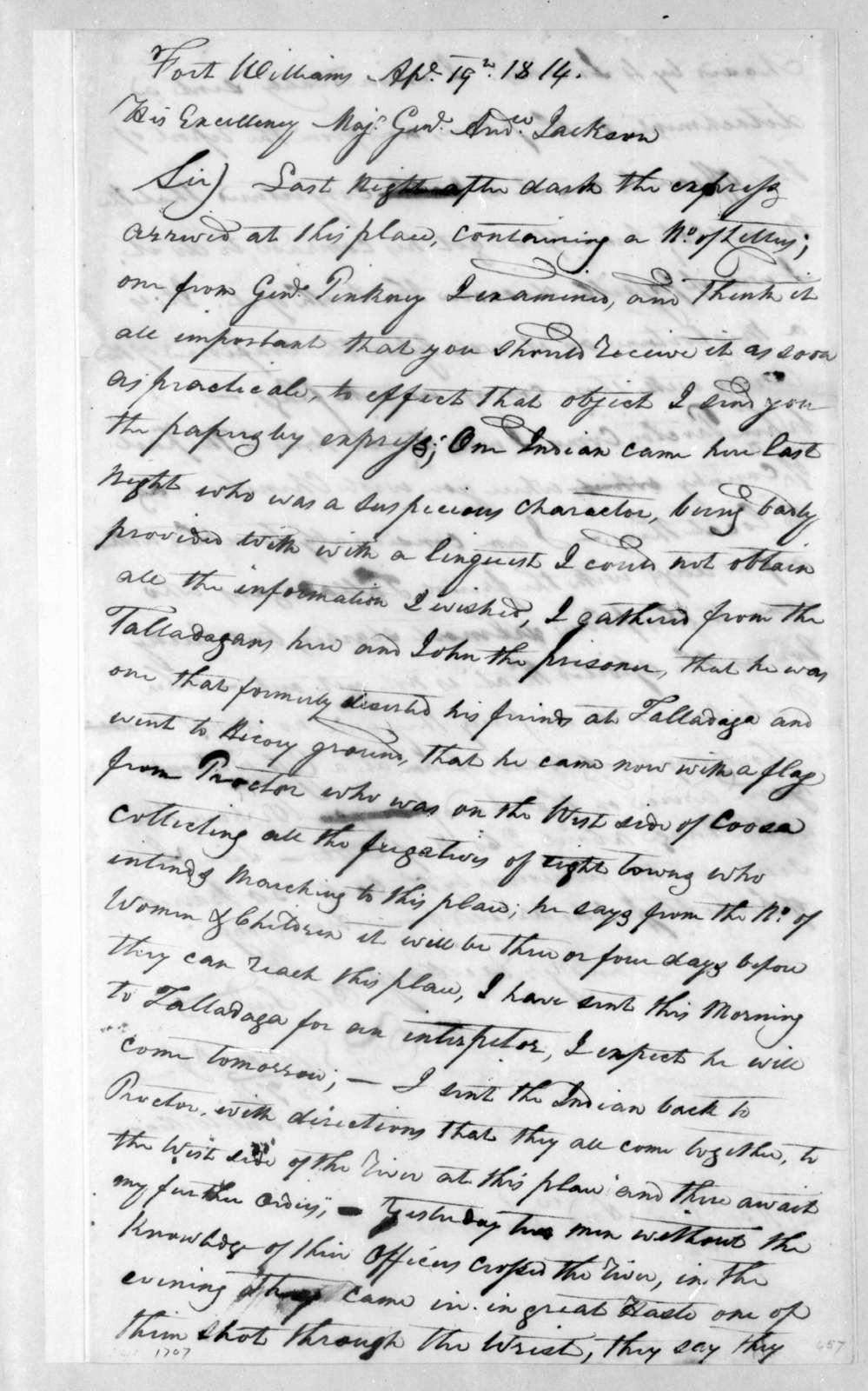 Thomas Johnson to Andrew Jackson, April 19, 1814