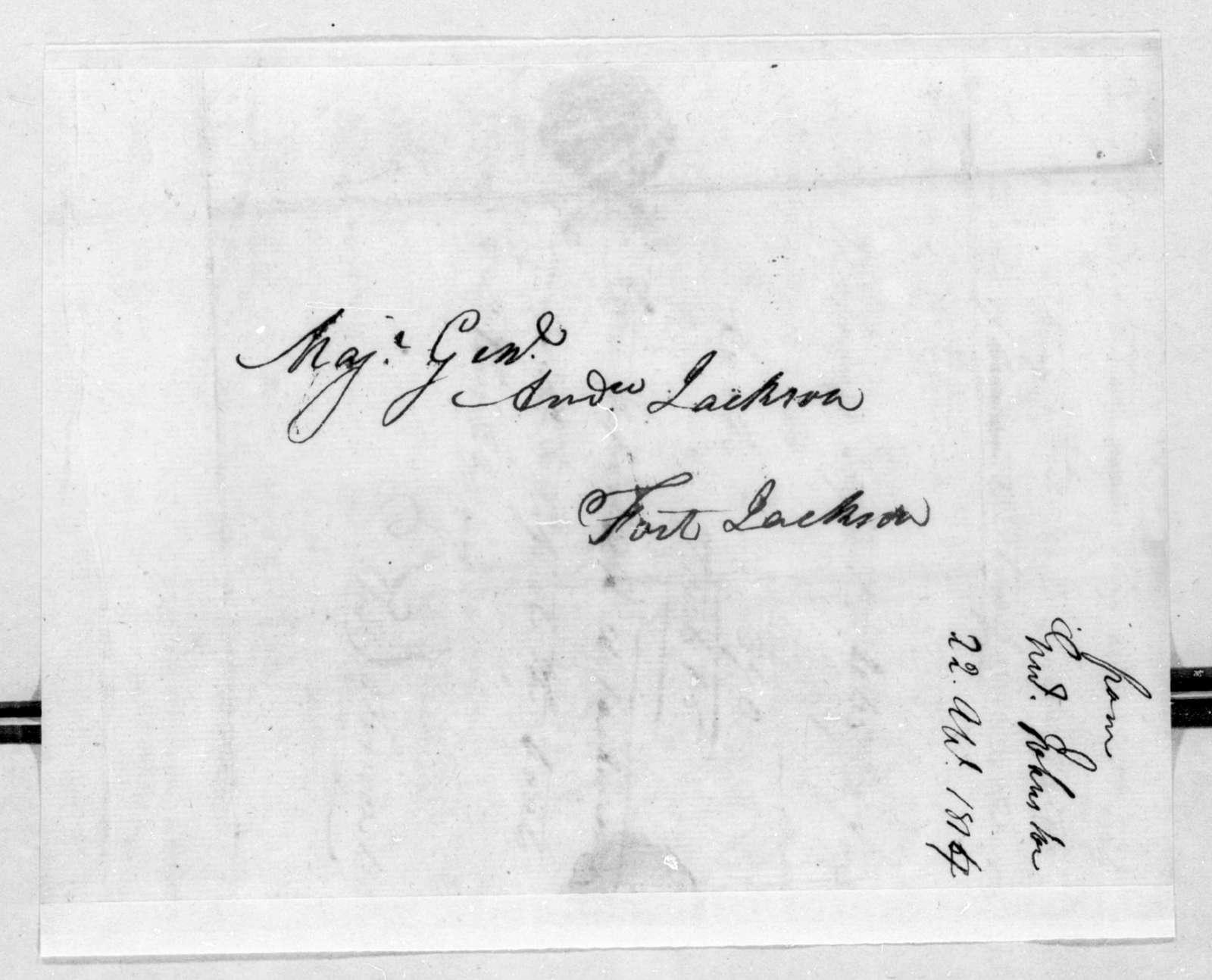 Thomas Johnson to Andrew Jackson, April 22, 1814