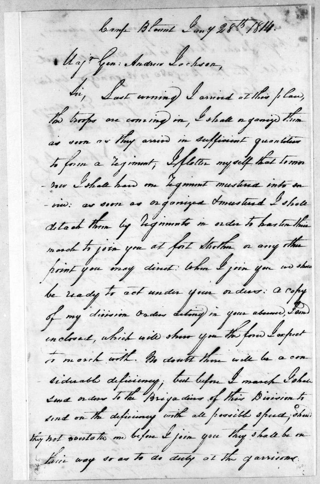 Thomas Johnson to Andrew Jackson, January 28, 1814