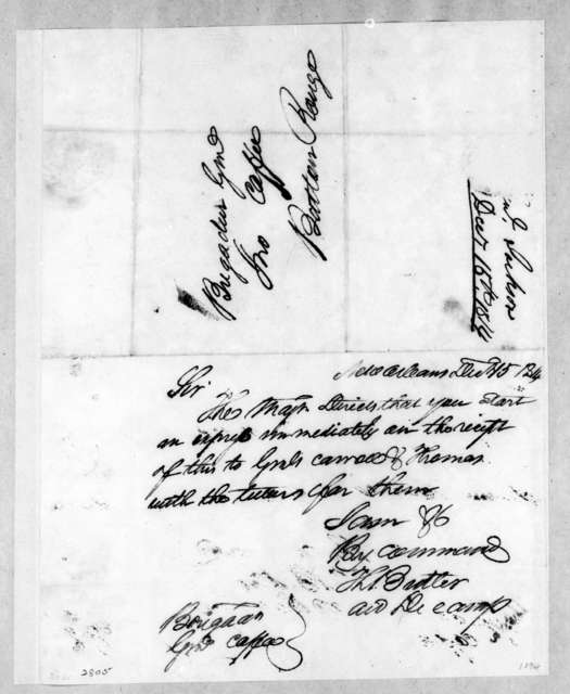 Thomas Langford Butler to John Coffee, December 15, 1814