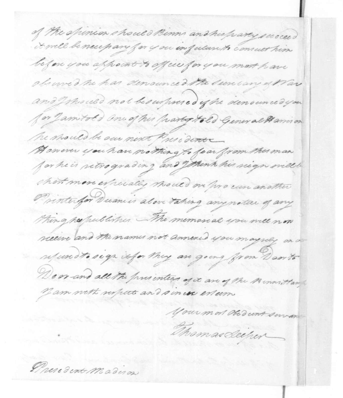 Thomas Leiper to James Madison, February 22, 1814.