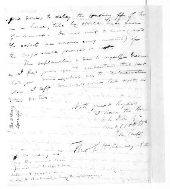 Thomas McKenney to James Madison, September 2, 1814.