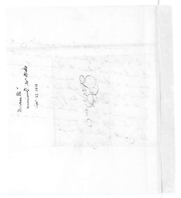 Thomas Munroe to James Madison, September 23, 1814.