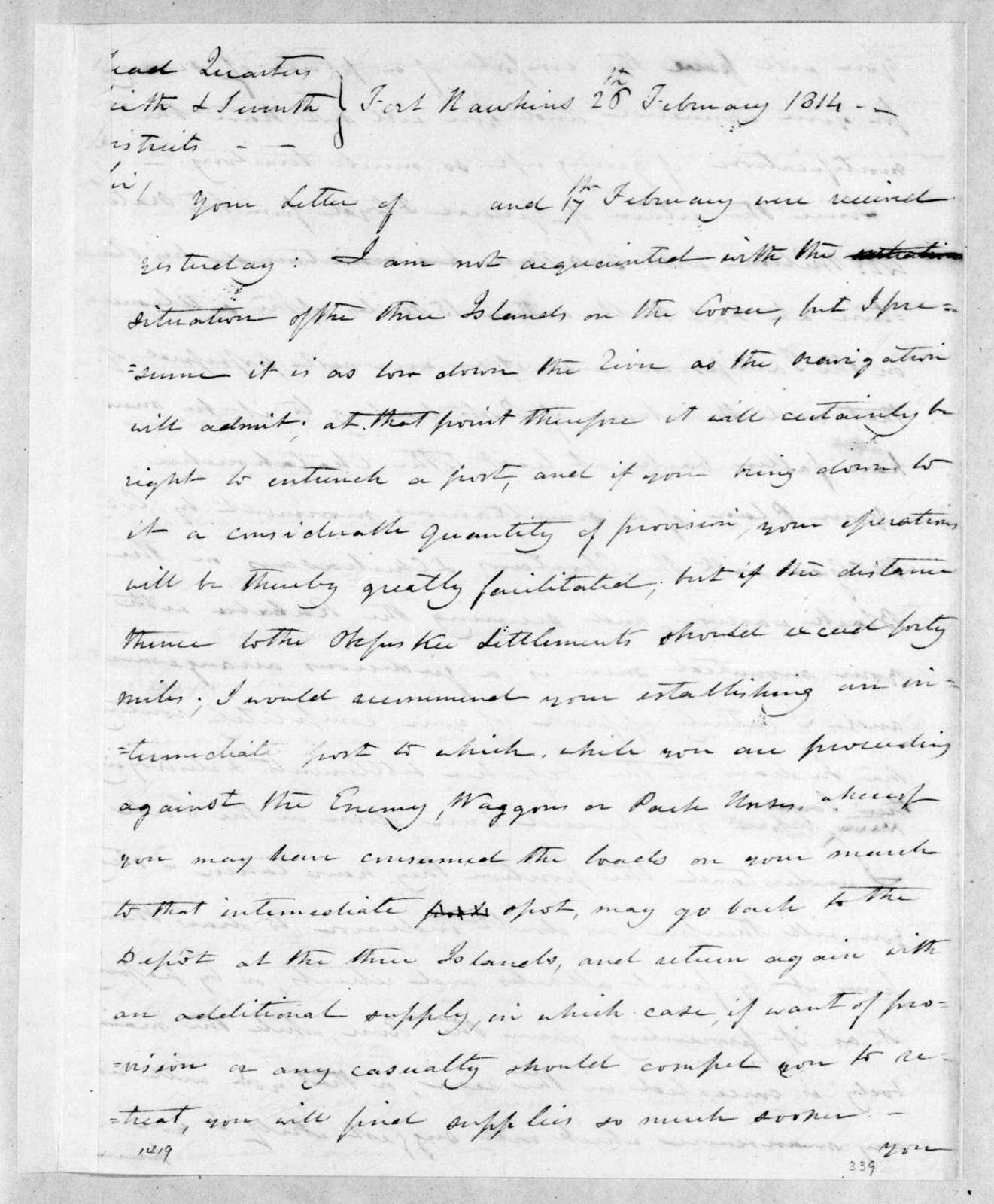 Thomas Pinckney to Andrew Jackson, February 26, 1814