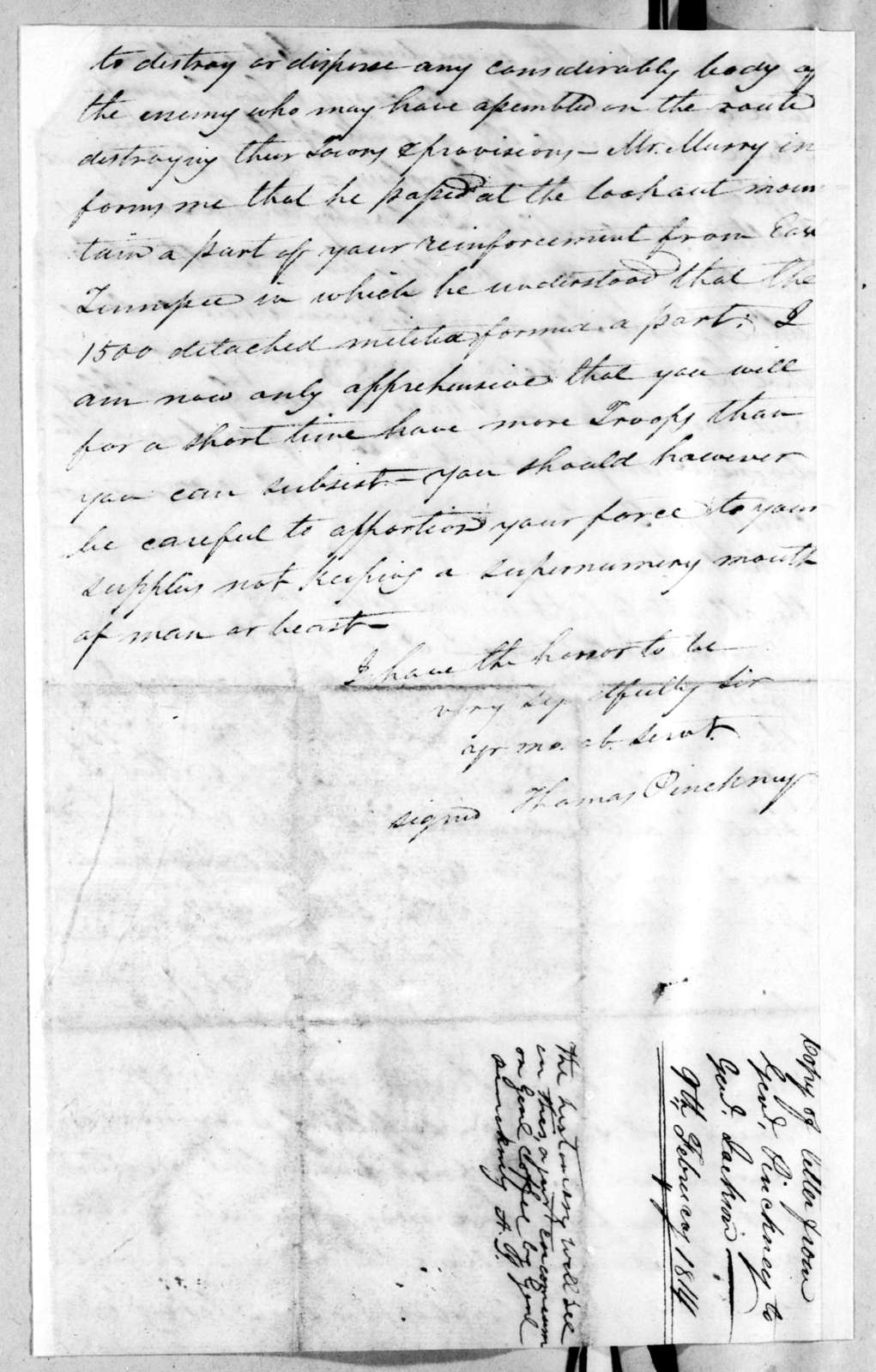 Thomas Pinckney to Andrew Jackson, February 9, 1814