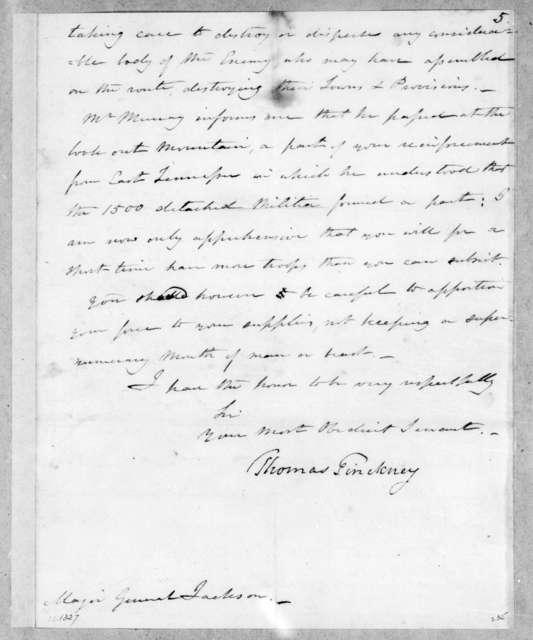 Thomas Pinckney to Andrew Jackson, February 9, 1814