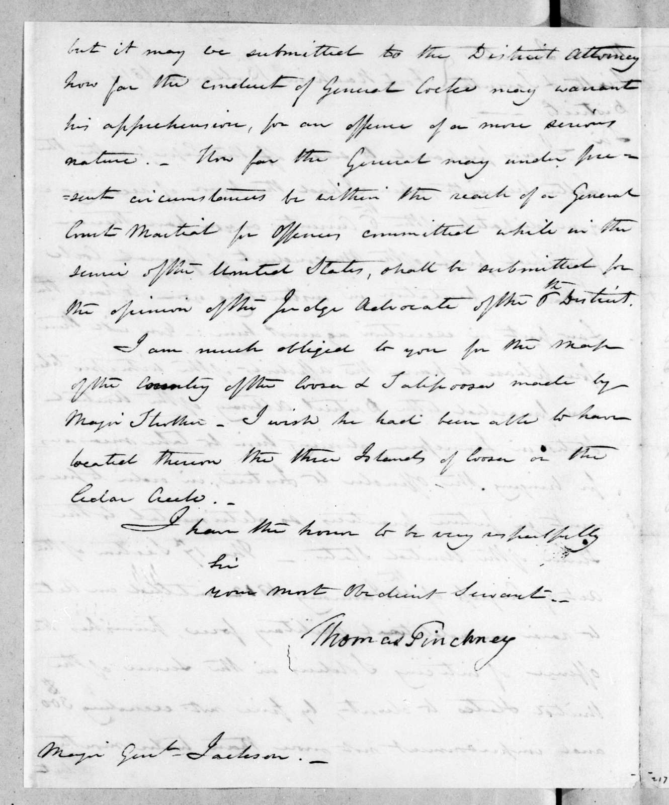 Thomas Pinckney to Andrew Jackson, March 13, 1814