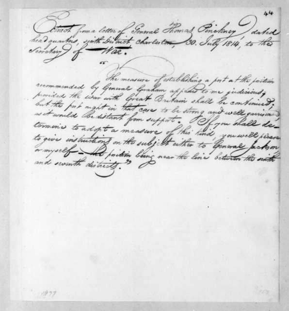 Thomas Pinckney to John Armstrong, July 30, 1814