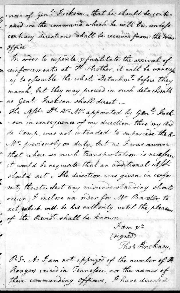 Thomas Pinckney to Willie Blount, January 10, 1814
